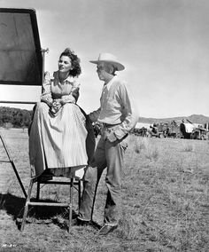 RED RIVER (1948) - Director Howard Hawks & actress Joanne Dru on location in Arizona - United Artists - Publicity Still.