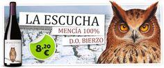 Vinos del Paseante La Escucha es un vino tinto con Denominación de Origen Bierzo, elaborado con la variedad de uva Mencía 100% procedente de viñas viejas asentadas en suelos de pizarra en laderas escarpadas de las zonas altas del Bierzo.