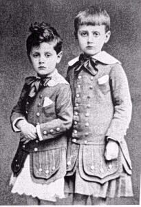 Victorian parents at mid-Century had various options when their son reached about 2 or 3 years. Some simply left them in dreses as was common in the early period of the Century. Franklin Roosevelt's mother, for example, in the 1880s kept the future President in dresses and long curls until he was five.  http://histclo.tripod.com/dress.html