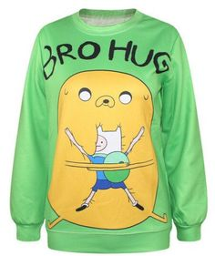 EAST KNITTING Harajuku New Fashion 2015 Women Pullovers Funny 3D Sweatshirts Adventure Time Print Hoodies Top