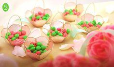 Candy-filled capiz mini baskets - Spring wedding favor idea