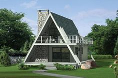 A frame house-designrulz Tiny House Cabin, Tiny House Design, Cabin Homes, Small House Plans, Two Bedroom House Design, Cottage House, A Frame Cabin Plans, A Frame Floor Plans, Triangle House