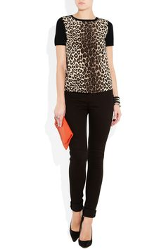 Love this top! MAJE- Leopard print silk crepe blend sweater!