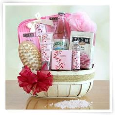 Cherry Blossom Spa Gift Basket - I love gift basket presents! Something similar to this would so make my day! I definitely need a relaxing day at home and something like this would be awesome!