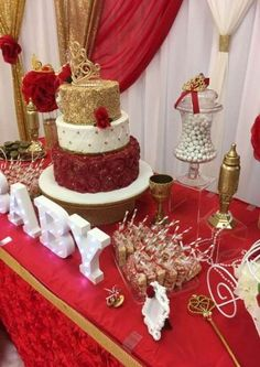 Wedding Decorations Red Gold Decor Ideas - Decoration Home Quinceanera Planning, Quinceanera Decorations, Quinceanera Themes, Sweet 16 Decorations, Quince Decorations, Wedding Decorations, Wedding Centerpieces, Candy Centerpieces, Birthday Decorations