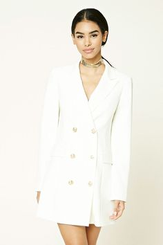 A woven blazer featuring a double-breasted construction, high-polish buttons, notched lapels, long buttoned sleeves, and front mock flap pockets. Birthday Outfit, Anniversary Outfit, Long Blazer Jacket, Drape Front Jacket, Dress For Success, Suits, Latest Trends, Autumn Fashion, Fashion Women