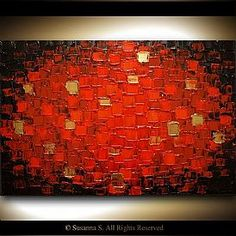 Red black abstract Palette Knife oil paintings