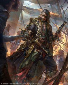 "adventure-fantasy: "" François l'Olonnais Pirate by jeremy chong "" Mobius Final Fantasy, Final Fantasy Art, Fantasy Male, Fantasy Warrior, Fantasy Artwork, Fantasy World, 3d Artwork, Male Character, Character Portraits"