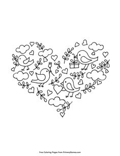 Free printable Valentine's Day Coloring Pages eBook for use in your classroom or home from PrimaryGames. Print and color this Birds, Roses and Hearts coloring page.