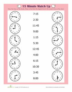 Worksheets: Quarter Hour