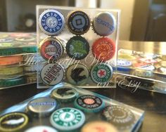 Set of SIX - One of a Kind Beer Bottle Cap Resin Coasters - Beer Bottle Cap Bar Decor, Perfect Gift for Guys - pinned by pin4etsy.com