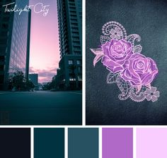 Add some glowing tones to your embroidery designs with this City Twilight color inspiration.