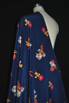 Items similar to Navy Blue Silk Crepe Satin Fabric Printed Flower style  Silk Dress for wedding- 140cm x 50cm -AFFH on Etsy b98353afef66