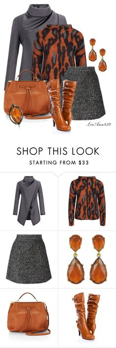 """""""3 colors for fall orange grey blackcontest"""" by leeann829 ❤ liked on Polyvore featuring By Malene Birger, Ermanno Scervino, Kenneth Jay Lane and Rebecca Minkoff"""