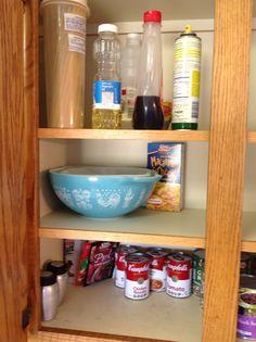 K-55 blue patterned bowl, K-57 aluminum salt and pepper shakers
