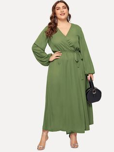 713afeebc1 Plus Elastic Cuff Solid Wrap Dress -SHEIN(SHEINSIDE) Plus Size Winter  Outfits,