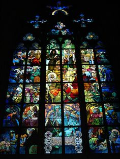 The Mucha stained glass window in the Northwest corner of St. Vitus Cathedral, Prague, Czech Republic.