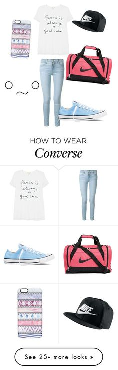 """nike brand"" by erintheawesome on Polyvore featuring Frame Denim, Sundry, Converse, NIKE, Casetify, women's clothing, women's fashion, women, female and woman"