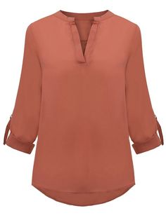 OL Solid Loose Long Sleeve V-Neck Chiffon Women Blouse