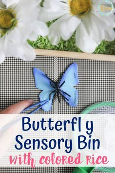 This butterfly sensory bin uses rice, faux flowers and butterflies as a fun and interactive way for kids to learn. Printable butterfly question cards included as well. #butterflyactivitiesforkids #butterflyactivities #butterflysensorybin #sensoryplayforkids #sensorybinsforkids #kidsactivities # preschool #homeschool