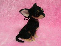 Needle Felted Cute Chihuahua Puppy, Black Tan: Miniature Needle Felt Dog, Needle Felting on Etsy, $756.08 CAD