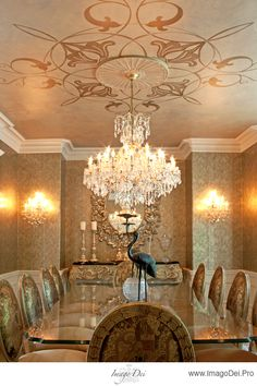 Look at the ceiling, lighting and walls! Elegant dining room.