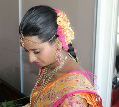 Hindu Bride - dressed by Dazzling Darlings #bridals #bridalmakeover #hindubride #tamilbride #tamilwedding #hairflowers #tamilbridalhairstyle