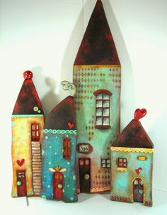 Mixed Media Houses By Fabi / Con Tus Manos Source by Wooden Crafts, Clay Crafts, Home Crafts, Diy And Crafts, Paper Crafts, Clay Houses, Miniature Houses, Wooden Houses, Art Houses