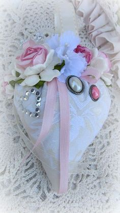 Pink Strawberry Sachet With Gems-birde,wedding,gift,handmade,sachet,roses,pink,cream,ribbon,gems,pearls