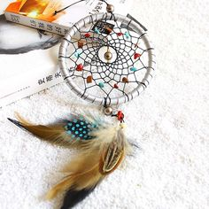 Indian Style Silver Dream Catcher Feathers Core Bead Dreamcatcher for Wall Car Decoration