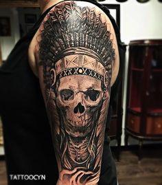 Super Cool ndian Chief Tattoo Swedish artists Marcus Körling @funnyfarm #TattoocynProTeam #TattoocynInkArt #Tattoocyn #Tattoo