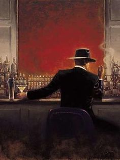 """$79 Cigar Bar by Brent Lynch - 23"""" x 30"""" Premium Canvas Print (paired with """"Evening Lounge"""")"""