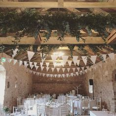 White bunting and foliage - barn wedding, Wedderburn Barns Wedding Bunting, Barn Wedding Venue, Boho Wedding, Rustic Wedding, Wedding Decorations, Wedding Ideas, Barn Parties, Wedding Mood Board, Vows