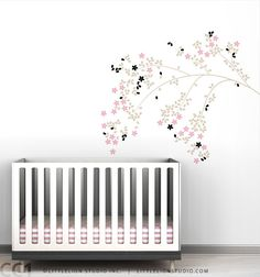 Blossom Branch Wall Decal - Classic, chic wall decal - Elegant floral design - Beige, pink, black and more colors