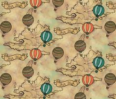 balloons_map_pattern fabric by lusyspoon on Spoonflower - custom fabric  $18 / yard