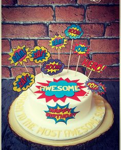 Comic cake #popart #comics #dc #marvel #awsome #speechbubbles #bang #zap #hero #pop #boom #bam #birthdaycakes #familycakes