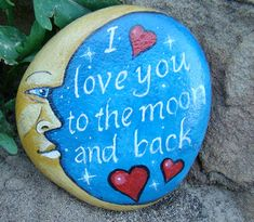 MOON AND BACK-To personalize hand painted by MyGardenRocks on Etsy