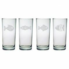 "Enjoy an after-dinner cocktail with this nautical-themed highball glass, showcasing a sand-etched fish motif.  Product: Set of 4 highball glassesConstruction Material: GlassColor: ClearFeatures:  Each decoration is sand etched into the glass surface by hand in a 110+ year old factory in PennsylvaniaMade and decorated in the USA15 Ounce capacity Dimensions: 6.25"" H x 2.75"" DiameterCleaning and Care: Dishwasher safe"