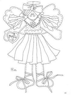 Riscos de Anjos country | Desenhos e Riscos - Desenhos para colorir
