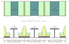Single and Double Upholstered Restaurant Booth Spacing with Table Tops