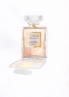 Coco Mademoiselle Chanel Painting Watercolor Eau de Parfum Paris Perfume Bottle - Digital Print 6 x 9. $12.00, via Etsy.