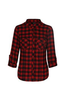 Red & Black Check Roll-Up Sleeve Shirt