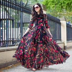 Indian Gowns Dresses, Indian Fashion Dresses, Maxi Gowns, Indian Designer Outfits, Designer Gowns, Chiffon Maxi Dress, Saree Dress, Maxi Dress With Sleeves, Dress Fashion