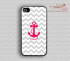 Gray Chevron and red anchor---iPhone 4 Case, iPhone 4s Case, iPhone 4 Hard Plastic Case,Personalized iphone case. $8.99, via Etsy.