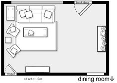 Part I: Floor plan for a living room.  scale 1\2 inch = 1 foot