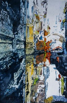 """blue canal Venice castello 18"""" x 12"""" micheal zarowsky / watercolour on arches paper (private collection)"""