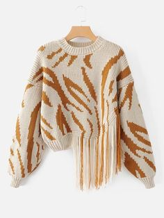 Shop Fringe Detail Zebra Asymmetrical Sweater online. SheIn offers Fringe Detail Zebra Asymmetrical Sweater & more to fit your fashionable needs.