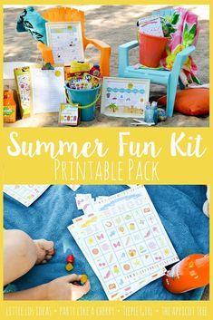 Summer Fun Kit . This 40 page kit is packed full of fun summer activities. Perfect for those lazy summer days. #summerideas #summerbucketlist #summerprintables