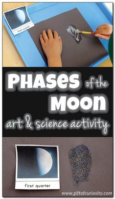 Phases of the moon art and science activity. What a fun idea for teaching preschoolers about the moon! || Gift of Curiosity