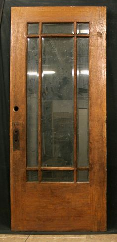 "36""x84"" Antique Exterior Entry White Oak Wood Door 9 Beveled Glass Lites Windows"